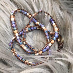 Jewelry - Pastel Stone leather Beaded Wrap Bracelet